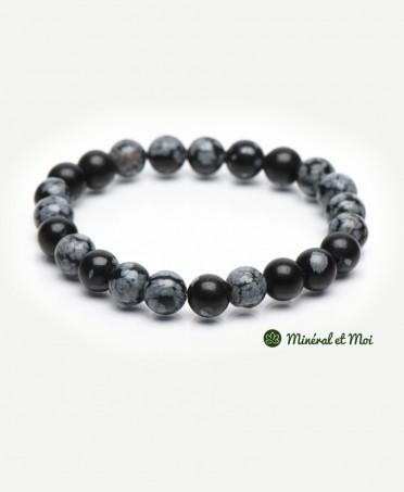 Bracelet Obsidienne Flocon de Neige - 8mm