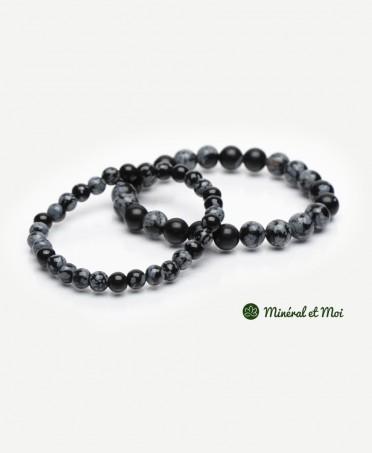 Bracelet Obsidienne Flocon de Neige - 6mm