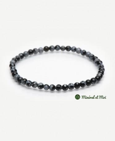 Bracelet Obsidienne Flocon de Neige - 4mm