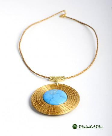 Collier Turquoise du Pérou - Or Végétal Grand Soleil