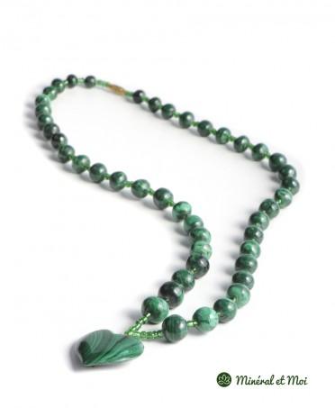 Collier Malachite - Perles et Cœur