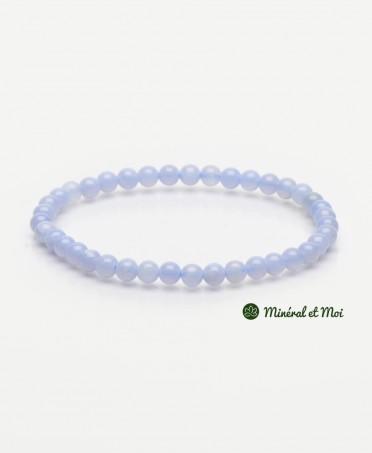 Bracelet Calcédoine Bleue - 4mm