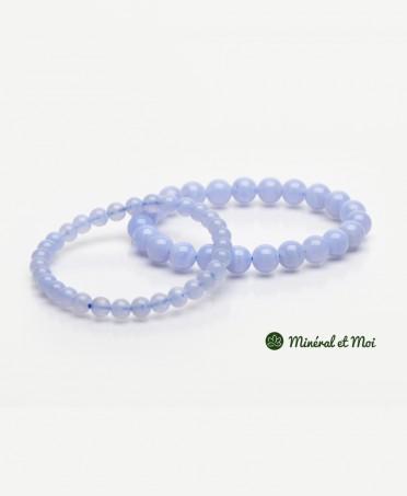 Bracelet Calcédoine Bleue - 6mm