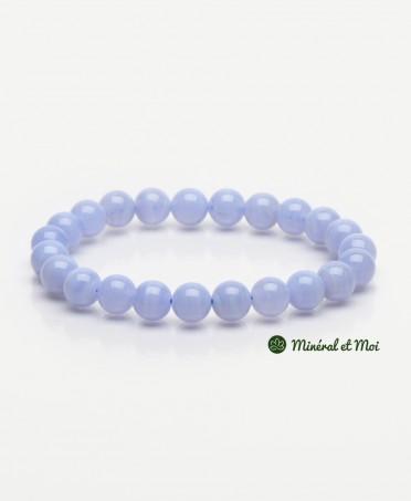 Bracelet Calcédoine Bleue - 8mm