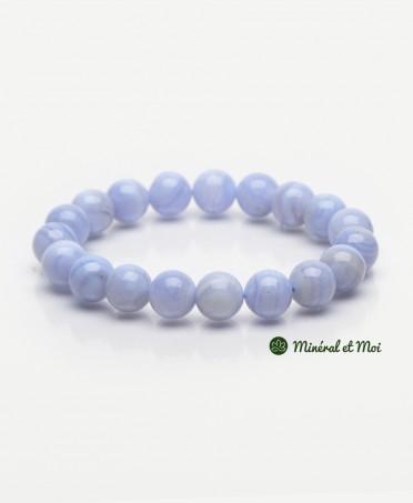 Bracelet Calcédoine Bleue - 10mm