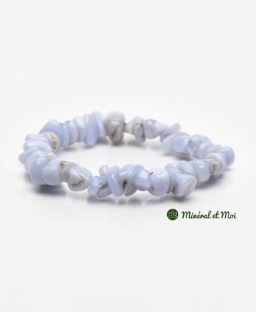 Bracelet Calcédoine Bleue - Galets